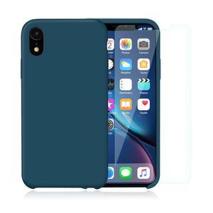 Pack Coque iPhone XR en Silicone Bleu Canard + Verres Trempés