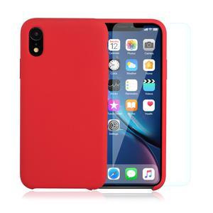 Pack iPhone XR Silikon Hülle Rot + gehärtetes Glas