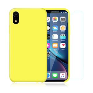 Pack Coque iPhone XR en Silicone Jaune + Verres Trempés