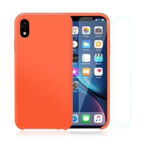 Pack Coque iPhone XR en Silicone Nectarine + Verres Trempé