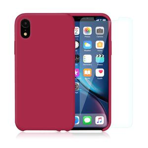 Pack Coque iPhone XR en Silicone Cerise + Verres Trempés