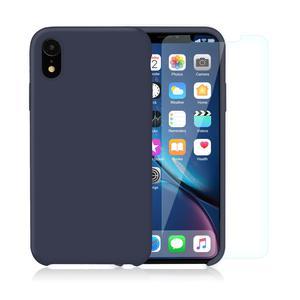 Pack Coque iPhone XR en Silicone Bleu Nuit + Verres Trempés