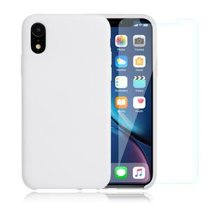 Pack coque silicone iPhone XR + Verre trempé - Blanc