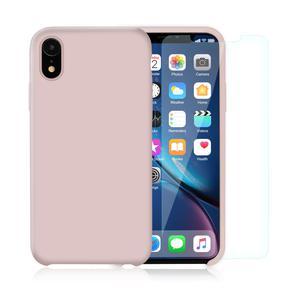 Pack Coque iPhone XR en Silicone Rose Pâle + Verres Trempés