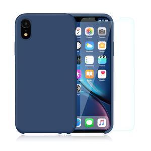 Pack Coque iPhone XR en Silicone Bleu Cobalt + Verres Trempés