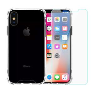 Pack Coque iPhone X/XS transparente anti-chute en TPU & polycarbonate + Verres Trempés