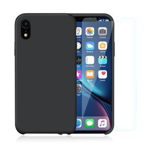 Pack Coque iPhone XR en Silicone Noir + Verres Trempés