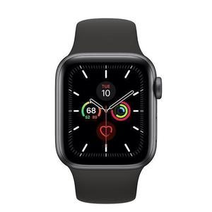 Apple Watch (Series 5) September 2019 40 mm - Aluminium Space Grau - Armband Sportarmband Schwarz