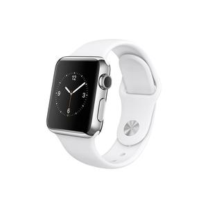 Apple Watch (Series 1) December 2016 38 mm - Roestvrij staal Zilver - Armband Sport armband Wit
