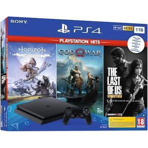 Console Sony PlayStation 4 Slim 1 To + Horizon Zero Dawn + God of War + The Last of Us Remastered - Noir