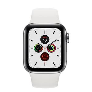 Apple Watch (Series 5) September 2019 40 mm - Rostfreier Stahl Silber - Armband Sportarmband Weiß