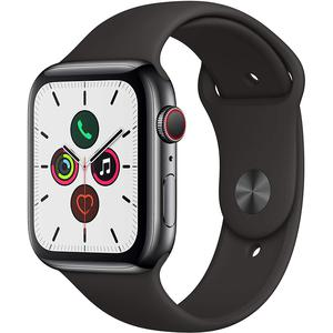 Apple Watch (Series 5) Septembre 2019 44 mm - Acier inoxydable Noir - Bracelet Sport Noir
