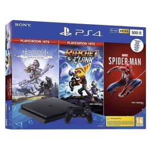 Console Sony PlayStation 4 Slim 500 GB + Controller + Controller + Marvel's Spider-Man + Horizon Zero Dawn CE + Ratchet & Clank - Zwart