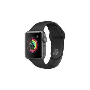 Apple Watch (Series 2) 38 mm - Aluminium Grau - Armband Sportarmband Schwarz