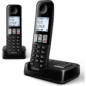 Téléphone sans fil avec répondeur Philips D2552B/01- Noir