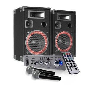 "Paire d'enceintes 8"" 500 W + Ampli Hifi 100W USB BLUETOOTH + 2 Micros"