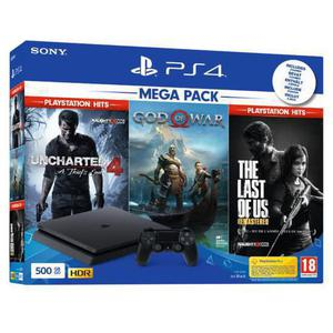 Gameconsole PlayStation 4 Slim 500GB + Uncharted 4 - The Last of Us remastered - Gof Of War - Zwart