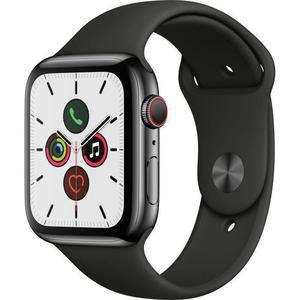 Apple Watch (Series 5) September 2019 44 mm - Aluminium Space Grau - Armband Sportarmband Schwarz