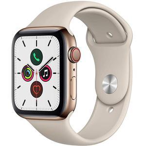 Apple Watch (Series 4) September 2018 44 - Stainless steel Gold - Sport loop Grey sand