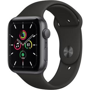 Apple Watch (Series SE) September 2020 44 mm - Aluminium Space Grau - Armband Sportarmband Schwarz