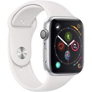 Apple Watch (Serie 4) September 2018 44 mm - Aluminium Silber - Armband Sportarmband Weiß