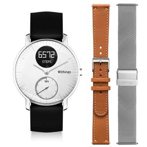 "Montre Cardio GPS Withings Steel HR 36"" + Bracelets Cuir - Milanais - Argent"
