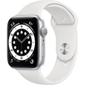 Apple Watch (Series 6) September 2020 44 mm - Aluminium Silber - Armband Sportarmband Weiß