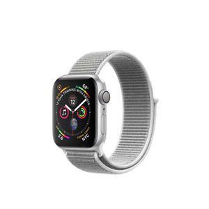 Apple Watch (Series 4) Syyskuu 2018 44 mm - Alumiini Hopea - Armband Sport loop Harmaa