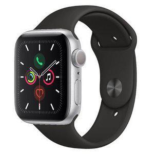 Apple Watch (Series 5) Σεπτέμβριος 2019 44mm - Αλουμίνιο Ασημί - Αθλητισμός Μαύρο