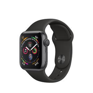 Apple Watch (Series 4) Syyskuu 2018 40 mm - Ruostumaton teräs Musta - Armband Sport loop Musta