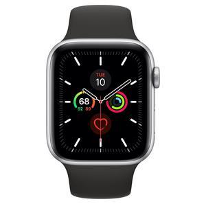 Apple Watch (Series 4) Syyskuu 2018 44 mm - Ruostumaton teräs Hopea - Armband Sport loop Musta