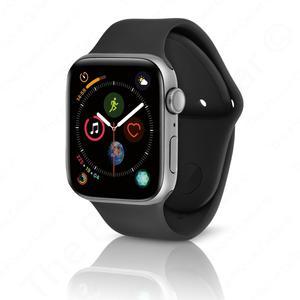 Apple Watch (Series 4) Syyskuu 2018 40 mm - Alumiini Hopea - Armband Sport loop Musta