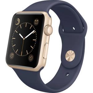 Apple Watch (Series 2) 38 - Aluminium Or  - Bracelet Sport Bleu