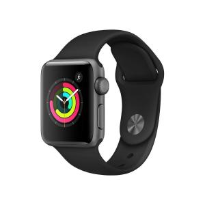 Apple Watch (Series 3)  38 mm - Aluminium Gris sidéral -  Bracelet Sport Noir