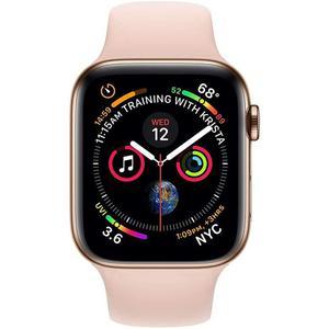 Apple Watch (Series 5) September 2019 44 mm - Rostfreier Stahl Roségold - Armband Sportarmband Rosa