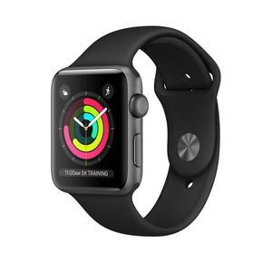 Apple Watch (Series 3) Septembre 2017 42 mm - Aluminium Gris sidéral - Bracelet Sport Noir