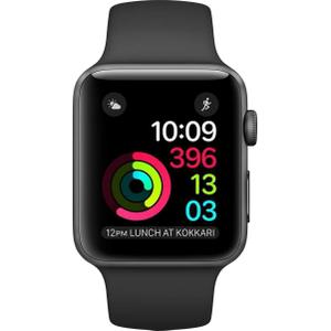 Apple Watch (Series 2) 2016 42 mm - Aluminium Space Grau - Armband Sportarmband Schwarz