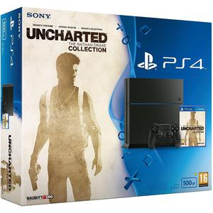 Wohnzimmer-Konsole Sony PlayStation 4 500 GB + Controller + Uncharted: The Nathan Drake Collection - Schwarz