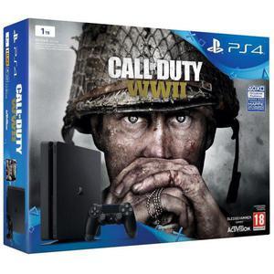 Sony Playstation 4 Slim 1 TB + Controller + Call of Duty: WWII - Schwarz