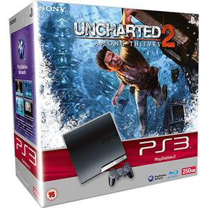 Console Sony PlayStation 3 Slim 250GB + controller + videospel Uncharted 2: Among Thieves - Zwart