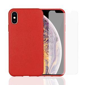 Coque et 2 écrans de protection iPhone X/XS - Compostable - Rouge