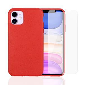 Pack Coque Compostable iPhone 11 Rouge, fabriquée à partir de plantes + 2 Verres Trempés