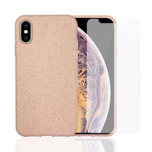 Funda y 2 protectoras de pantallas iPhone X/XS - Compostable - Rosa