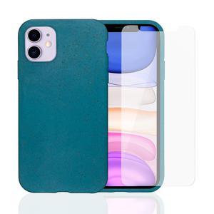Pack Coque Compostable iPhone 11 Bleu Canard, fabriquée à partir de plantes + 2 Verres Trempés