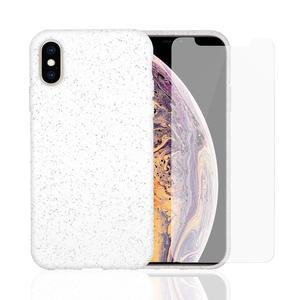 Hülle und 2 Schutzfolie iPhone X/XS - Kompostierbar - Weiß