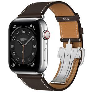 Apple Watch (Series 4) Septembre 2018 44 mm - Acier inoxydable Argent - Bracelet Cuir Ébène Barenia