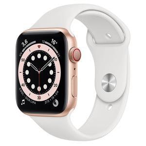 Apple Watch (Series 5) Syyskuu 2019 44 mm - Alumiini Kulta - Armband Sport loop Wit
