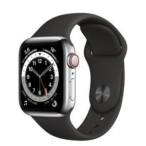 Apple Watch (Series 5) Syyskuu 2019 40 mm - Alumiini Hopea - Armband Sport loop Musta