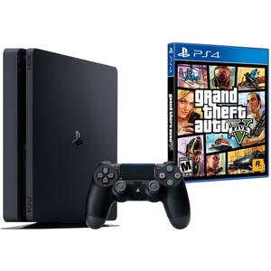 Gameconsole Sony PlayStation 4 Slim 1TB + Controller + GTA 5 - Zwart