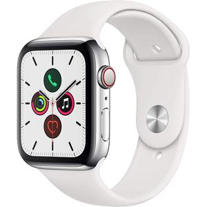 Apple Watch (Series 5) Septembre 2019 44 mm - Acier inoxydable Argent - Bracelet Sport Blanc